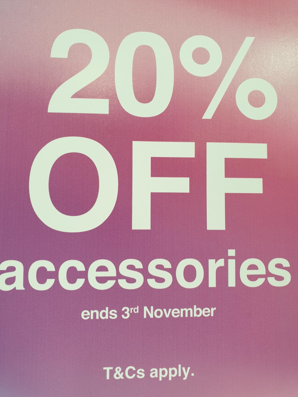 3 Store News 20% off accessories