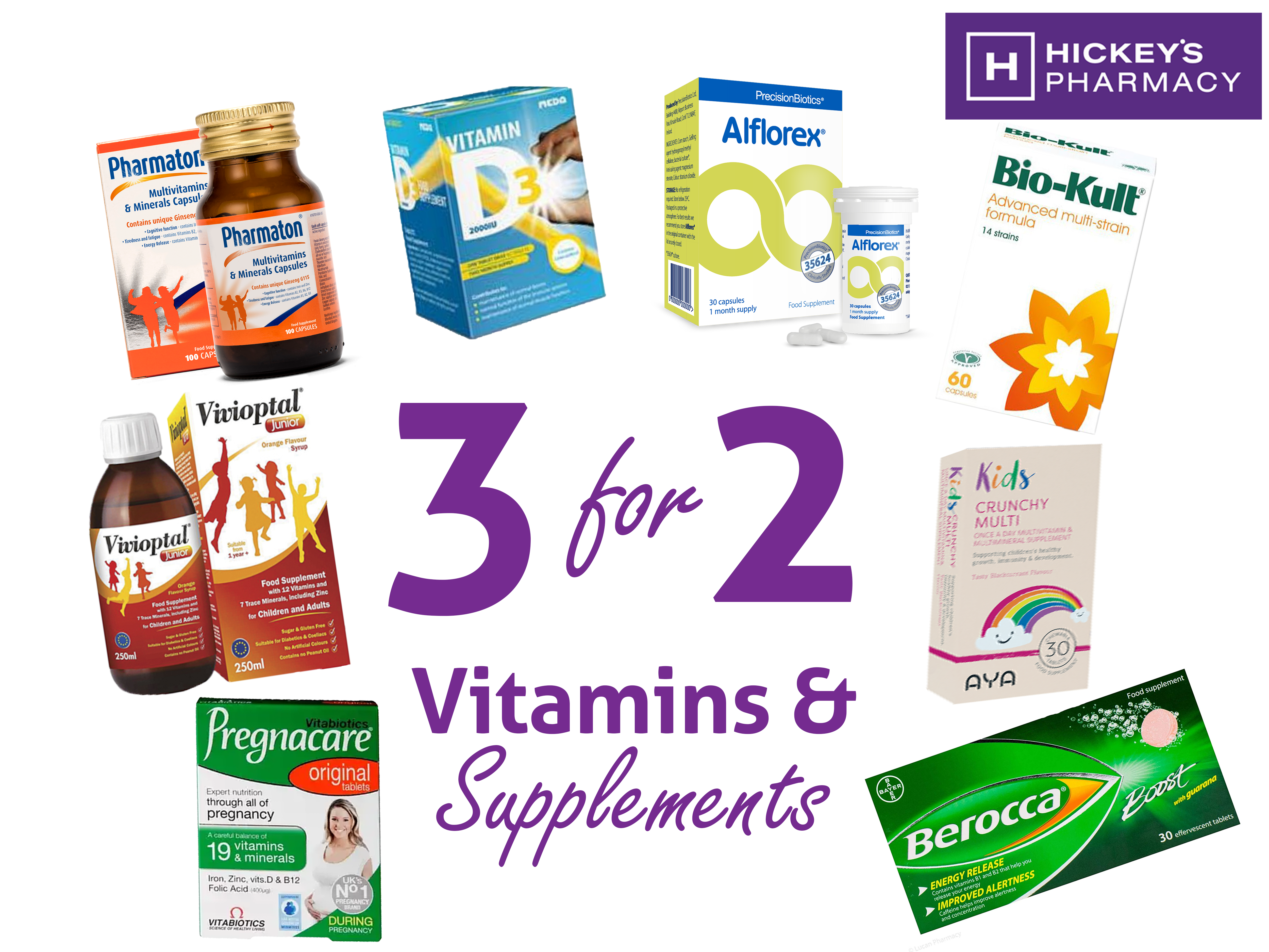 Vitamins & Supplements are now 3 for 2* at Hickey's Pharmacy