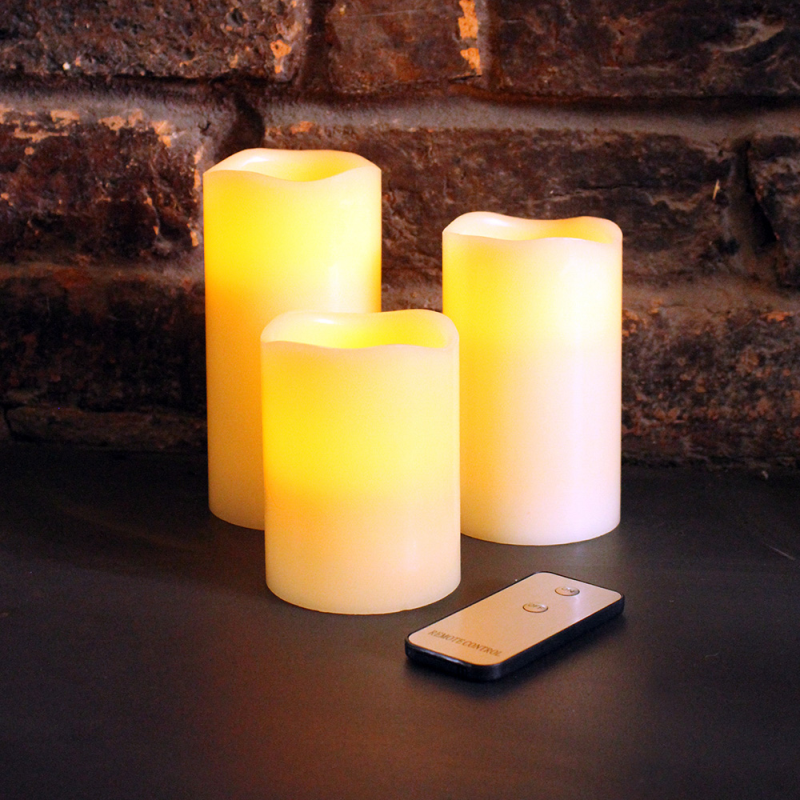 Set of 3 LED Wax pillar candles is now Half Price in Choice
