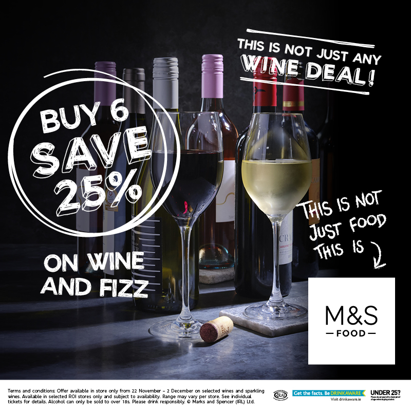 Buy 6 Bottles of Wine/Fizz at Marks and Spencer, save 25%!
