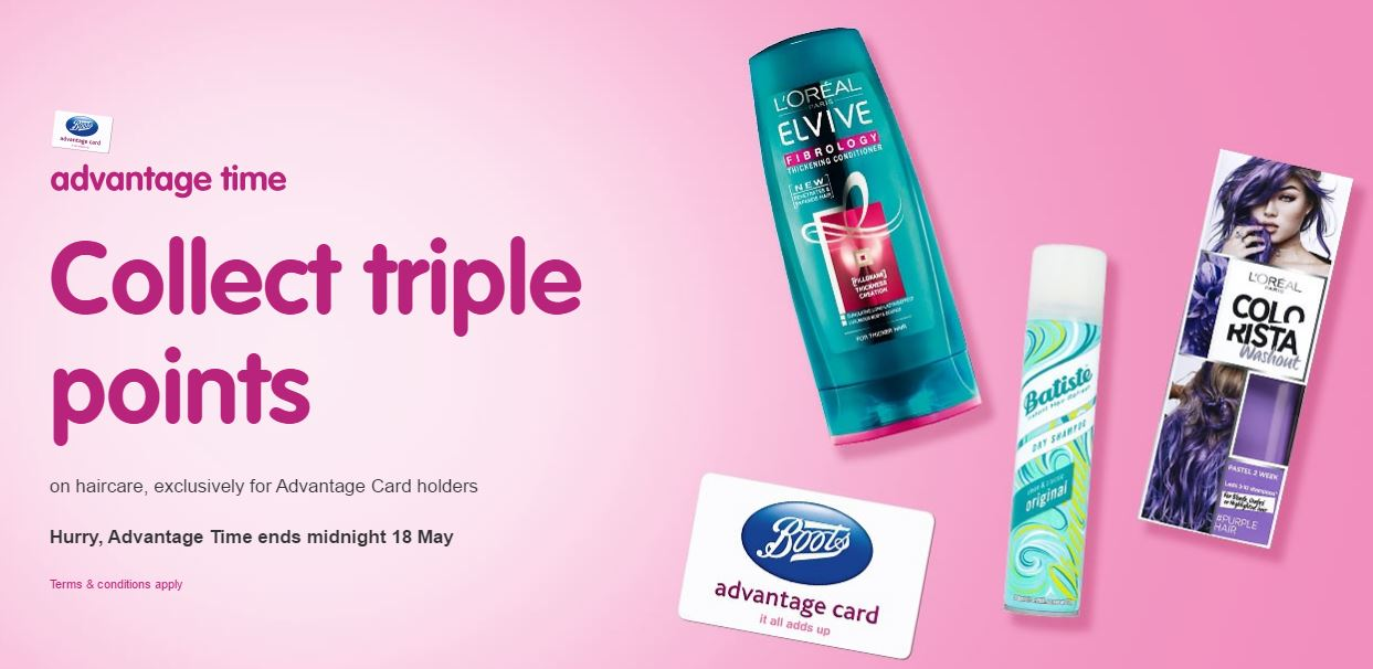Advantage time @ Boots : Triple Points on Hair Care