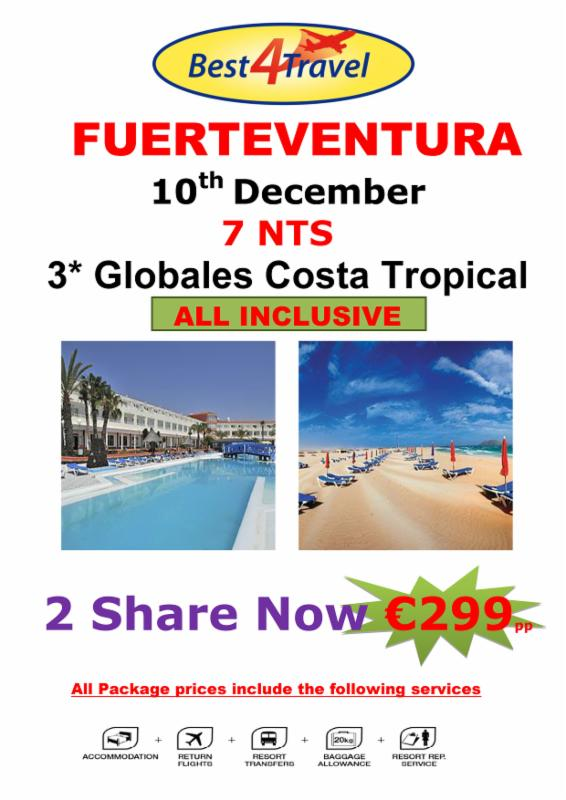 FUERTEVENTURA FROM SATURDAY 10th December