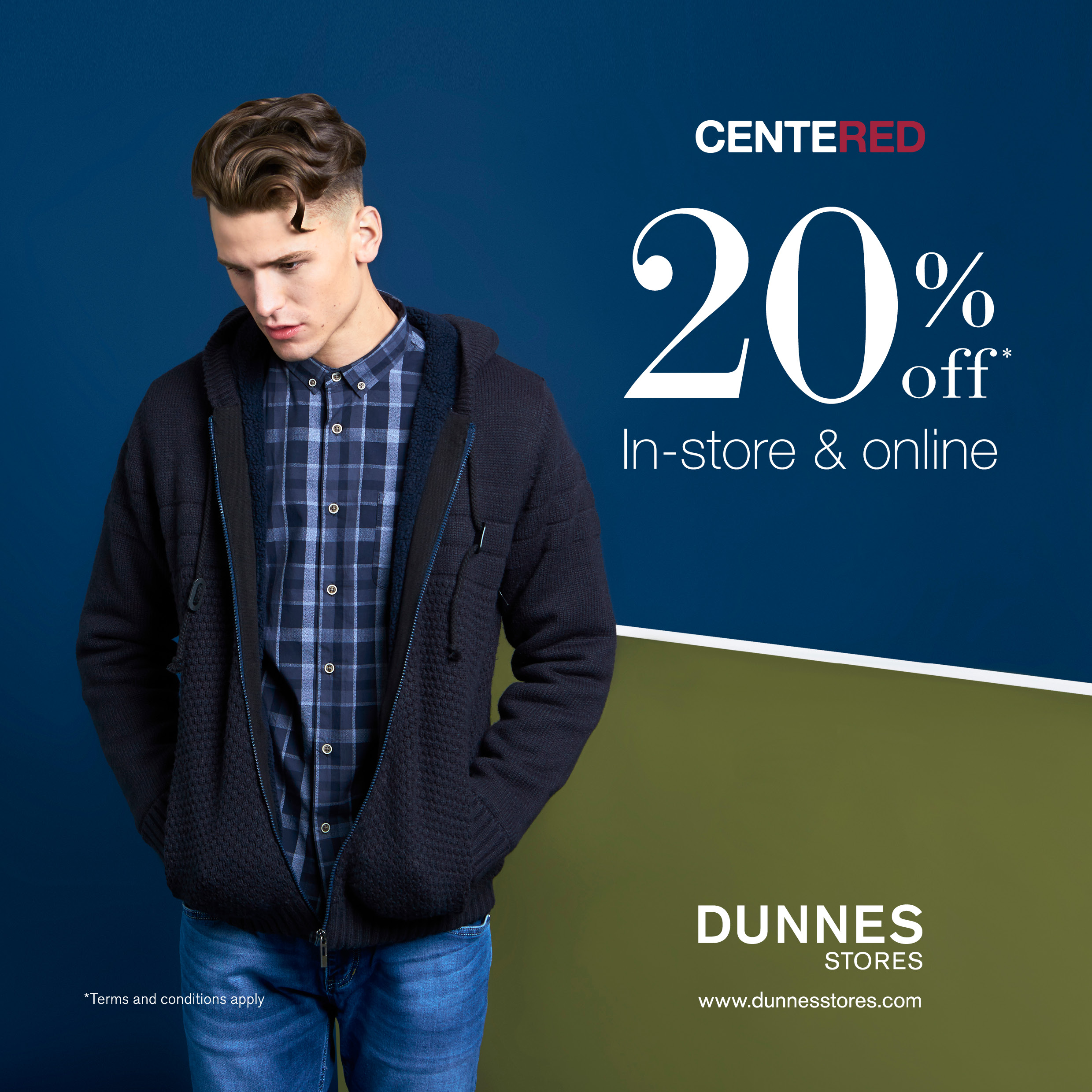 Dunnes Stores 20% Off menswear brand Centered