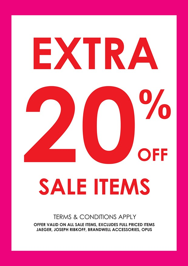 EXTRA 20% off SALE ITEMS @ PAMELA SCOTT STORES NATIONWIDE