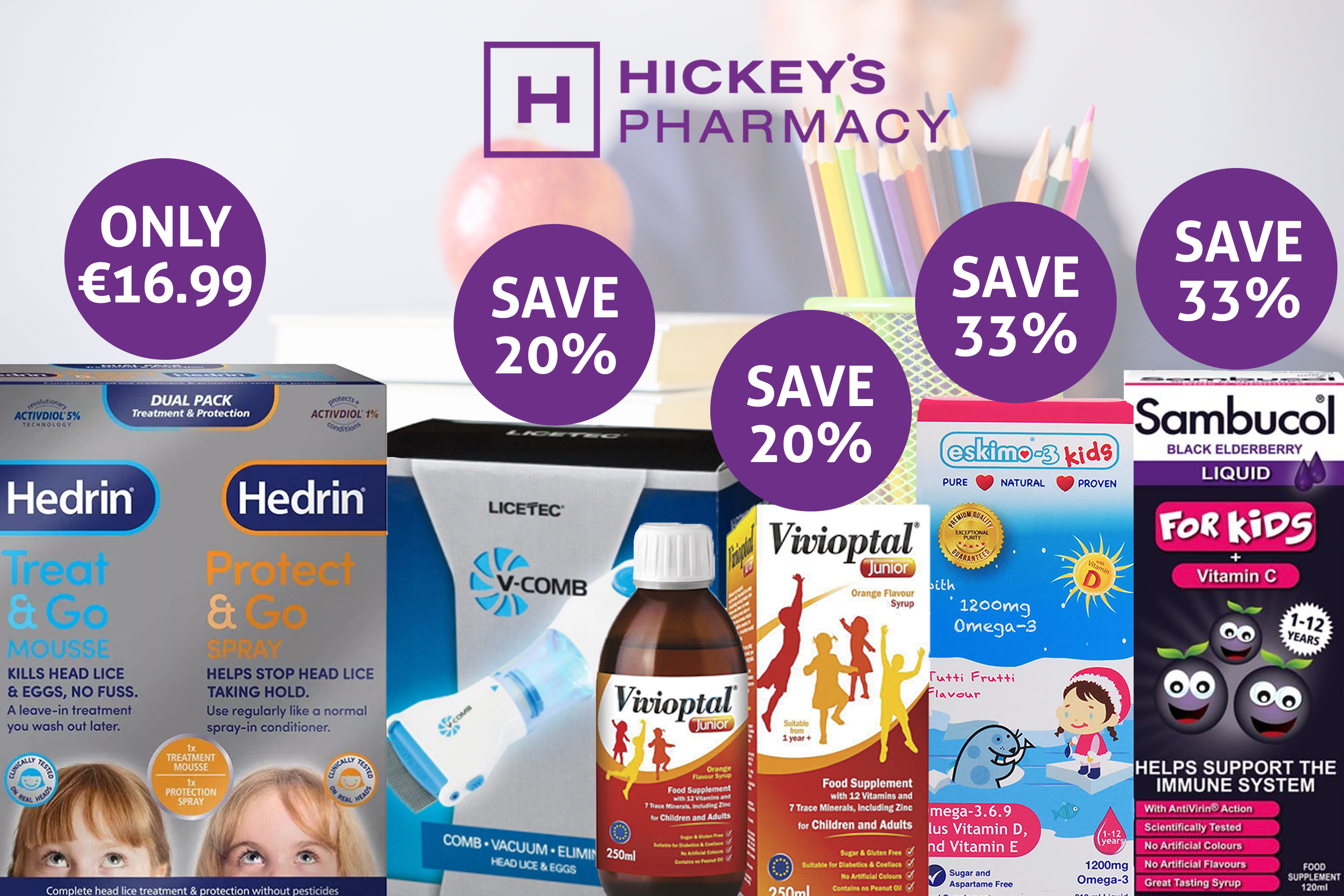Hickey's Pharmacy can help your family go back to school with their Pharmacist's recommended vitamins for children, head lice advice and more!