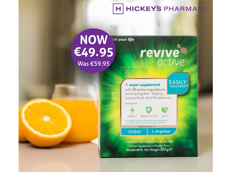 For a limited time only, Save €10 on Revive Active 30's* at Hickey's Pharmacy.
