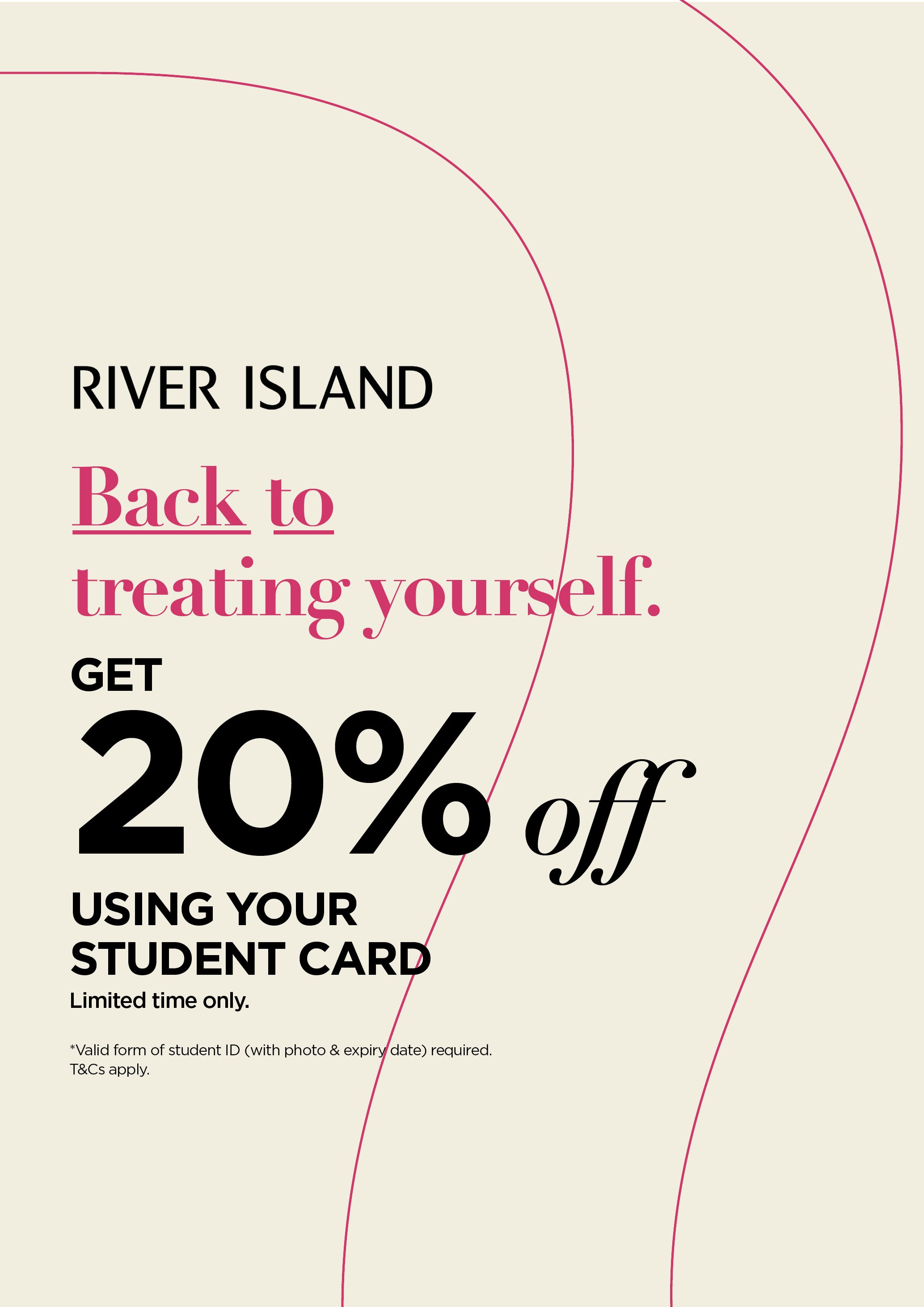Get 20% off using your Student Card at River Island
