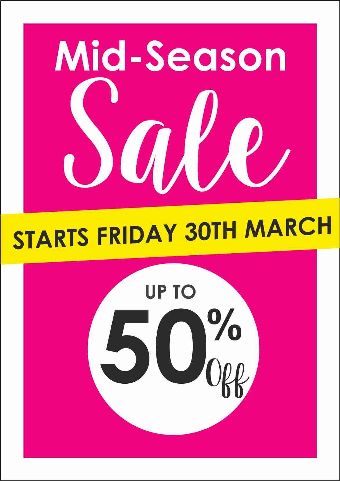 Mid Season Sale Starts today Friday 30th March at Pamela Scott